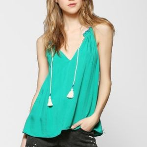 Urban Outfitters - Ecoté Green String Tassel Tank
